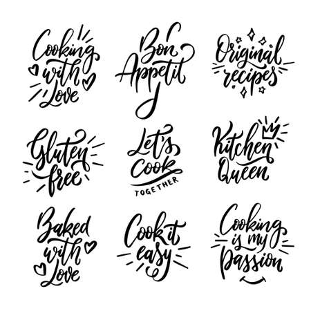 Illustration pour Cooking related quotes collection. Hand drawn kitchen calligraphy. Gluten free. Cooking with love. Cook it easy. Kitchen queen. Original recipes. Typography design elements set. Vector illustration. - image libre de droit