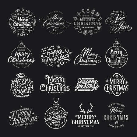 Ilustración de Merry Christmas and Happy New Year typography set. Vector vintage illustration. - Imagen libre de derechos
