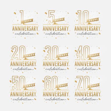 Photo pour Anniversary celebration golden template set. - image libre de droit