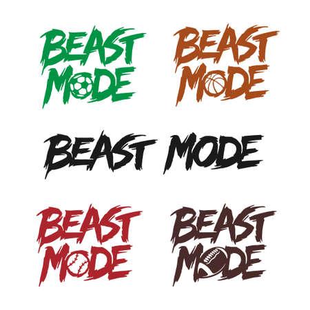 Illustration pour Beast mode quote lettering set. Vector illustration. - image libre de droit