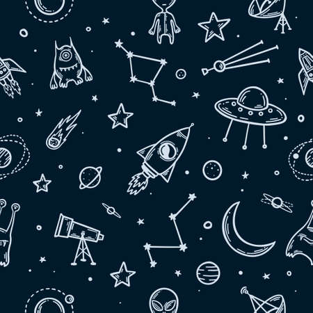 Illustration pour Space elements hand drawn seamless pattern. Vector illustration. - image libre de droit
