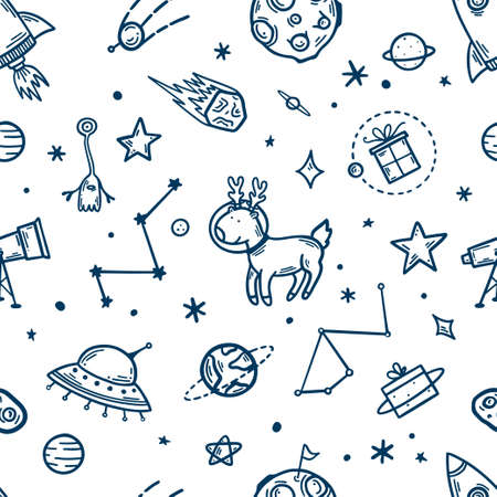 Illustration for Space elements hand drawn seamless pattern. Vector illustration. - Royalty Free Image