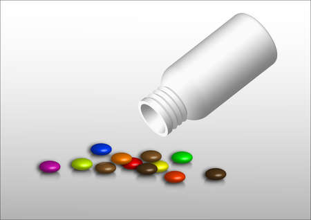 bottle, white, numerous colored tablets in the context of light