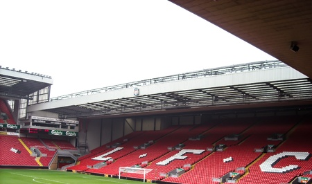 Anfield is a Home stadium of Liverpool Football Club in Premier League England at Liverpool, England