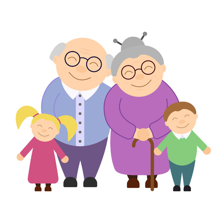 Illustration for Cute grandparents with grandchildren - Royalty Free Image