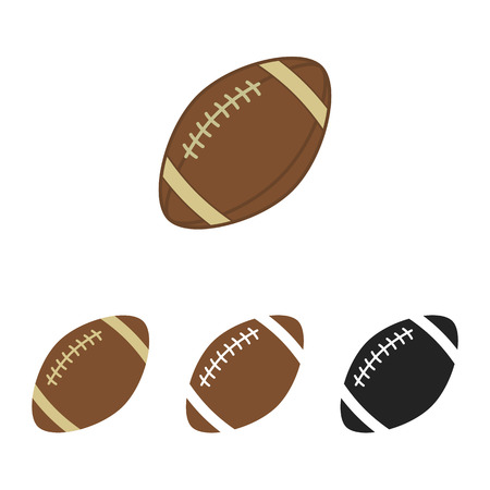 Ilustración de American football set. Ball for american football. Vector silhouettes of a rugby balls. Vector icons isolated on white background. Vector collection in flat style. - Imagen libre de derechos