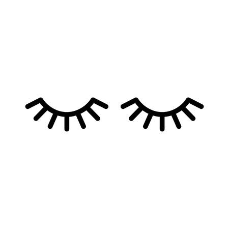 Ilustración de Vector eyelashes. Closed eyes. Vector icon Cute design - Imagen libre de derechos