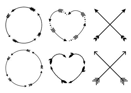 Illustration pour Circle and heart arrow frames for monograms. Crisscross hipster arrows. Arrows in boho style. Tribal arrows set. Vector collection. - image libre de droit