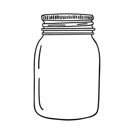Illustration pour Hand drawn mason jar. Contour sketch vector illustration. - image libre de droit