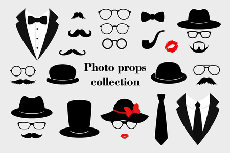 Ilustración de Photo props collections. Retro party set with glasses, mustache, beard, hats, texedo and lips. Vector illustration - Imagen libre de derechos