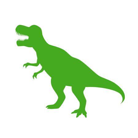 Illustration pour Dinosaur T-Rex vector silhouette. Roaring green tyrannosaurus silhouette isolated on white background. - image libre de droit