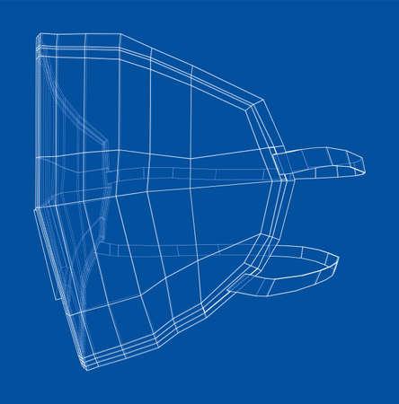 Illustration pour Medical surgical mask. Blueprint style. Vector - image libre de droit