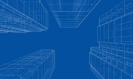 Illustration for Vector wire-frame model of a multi-storey residential building. Construction concept. Drawing or blueprint style. Vector made from 3d model - Royalty Free Image