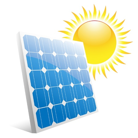 Illustration of the sun and solar panels.