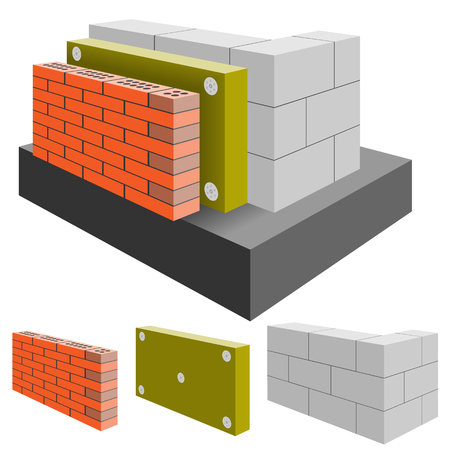 Brick Wall of the House with Insulation, cut. Arrangement Construction.