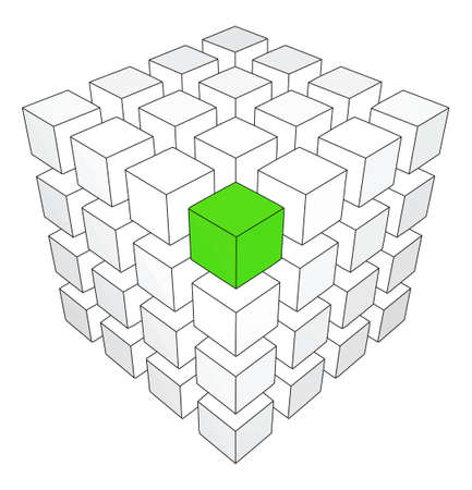 One individuality green cube on the white backround