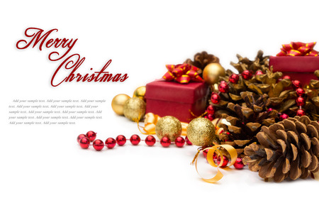Christmas composition with pinecone, isolated over white background