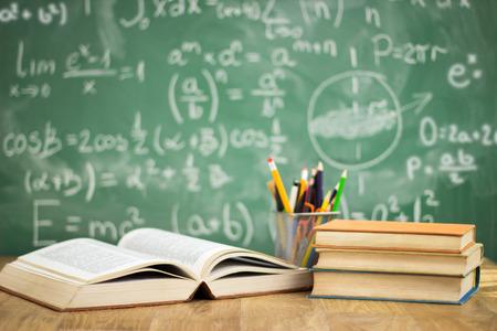 Foto de School books on desk, education concept - Imagen libre de derechos