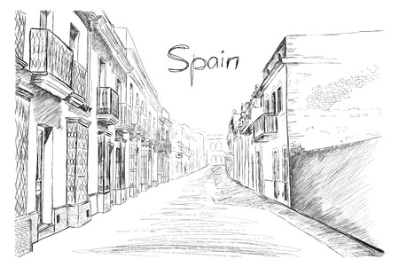 Spain town, vector illustration sketch