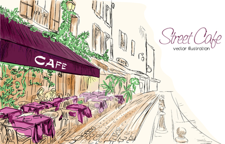 Illustration pour Colorful vector illustration of street cafe in modern city in purple, green and beige colors - image libre de droit