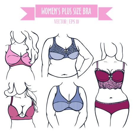 Different types of bra for women plus size, hand drawn icons in contour colored sketch style
