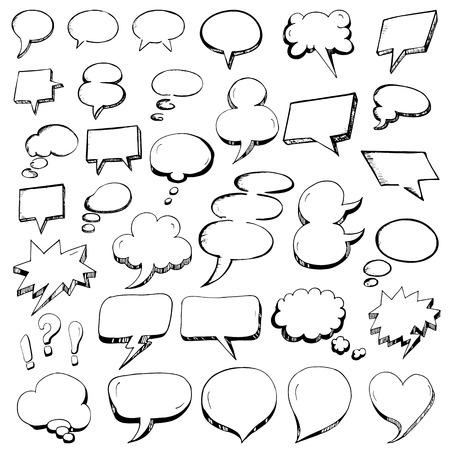 Illustration pour Vector Collection of Hand Drawn Speech Bubbles in doodle outline style - image libre de droit