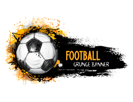 Illustration for Hand drawn vector grunge banner with soccer ball, stylish composition and orange watercolor background, in doodle style - Royalty Free Image