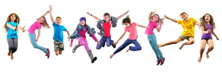 Photo pour Large group of happy children exercising, jumping and having fun. Isolated over white background. Childhood, happiness, active lifestyle concept - image libre de droit