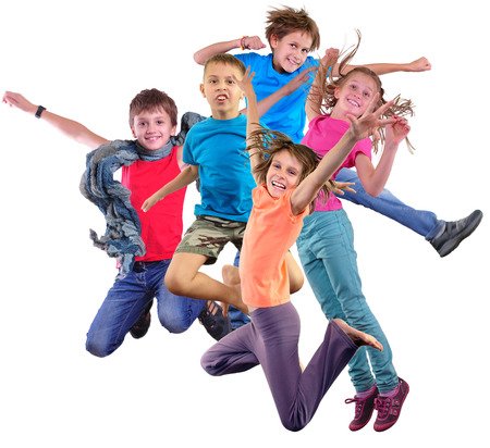 Photo pour Group happy dancing jumping together children isolater over white background. Photo collage. Childhood, active lifestyle, sports and happiness concept. - image libre de droit