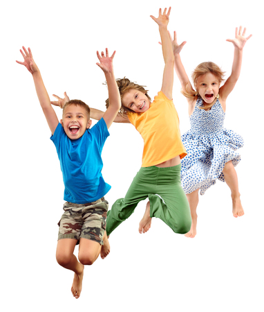 Photo pour Group of happy cheerful sportive barefoot children kids boy and girls jumping and dancing. Kids group portrait isolated over white background. Childhood, freedom, happiness, dance, movement, action, activity , active sport lifestyle concept. - image libre de droit