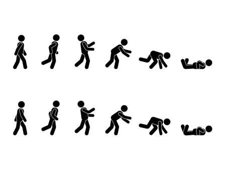 Illustration pour Walking man stick figure pictogram set. Different positions of stumbling and falling icon set symbol posture on white - image libre de droit
