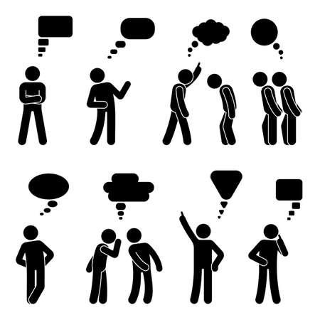 Illustration pour Stick figure dialog speech bubbles set. Talking, thinking, whispering body language man conversation icon pictogram - image libre de droit