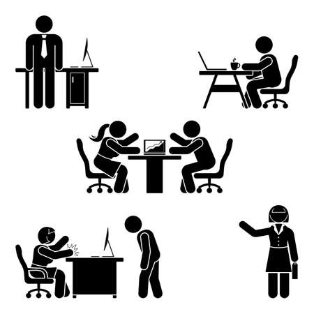 Illustration pour Stick figure office poses set. Business finance workplace support. Working, sitting, talking, meeting, training, discussing vector pictogram  - image libre de droit