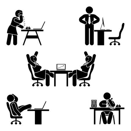 Ilustración de Stick figure office poses set. Business finance workplace support. Working, sitting, talking, meeting, training, discussing vector pictogram  - Imagen libre de derechos