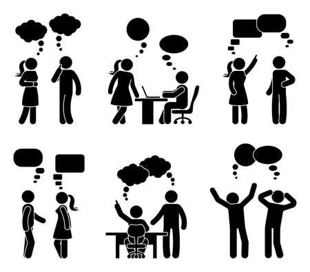 Illustration pour Stick figure office people speech bubble set. Vector illustration of talking coworkers on white  - image libre de droit
