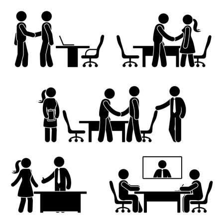 Illustration pour Stick figure negotiation icon set. Vector illustration of hands shaking meeting pictogram on white - image libre de droit