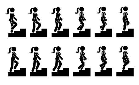 Ilustración de Stick figure female on stairs icon set. Vector woman walking step by step sequence pictogram - Imagen libre de derechos