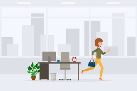 Illustration pour Young adult woman in yellow pants running away from office at the end of day vector illustration. Fast moving forward, going home cartoon character on cityscape background - image libre de droit