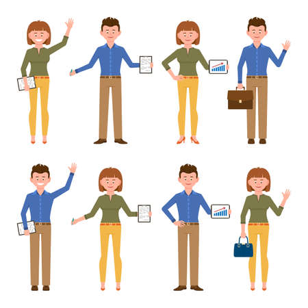 Illustration for Happy, smiling, friendly blue shirt office worker man and yellow pants woman vector illustration. Front view standing, waving hello, writing notes boy and girl cartoon character set on white - Royalty Free Image