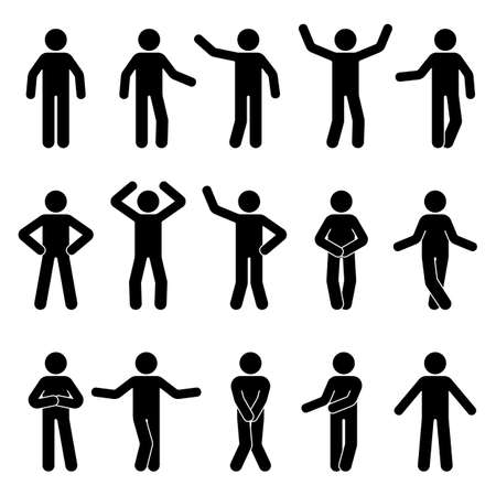 Illustration for Stick figure man standing front view different poses vector icon pictogram set. Black and white cut out people human silhouette on white background - Royalty Free Image
