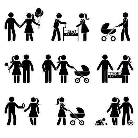 Illustration for Young family dating, playing with baby, walking with stroller stick figure vector icon illustration. Father and mother spending time with child, kid silhouette pictogram posture on white - Royalty Free Image