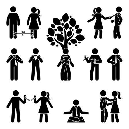Illustration for Stick figure tie up, untie, bound, pull, correct, meditate relieve vector silhouette pictogram icon set. Trapped, stressed, arrested stickman on white background - Royalty Free Image
