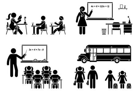 Illustration for Stick figure school boy, girl sitting in class, lesson, writing, reading, learning vector icon pictogram. Female, male teacher teaching, standing at blackboard set on white - Royalty Free Image