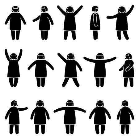 Illustration for Fat stick figure woman standing front, side view in different poses vector icon illustration set. Obese female hands up, waving, pointing, showing silhouette pictogram on white - Royalty Free Image