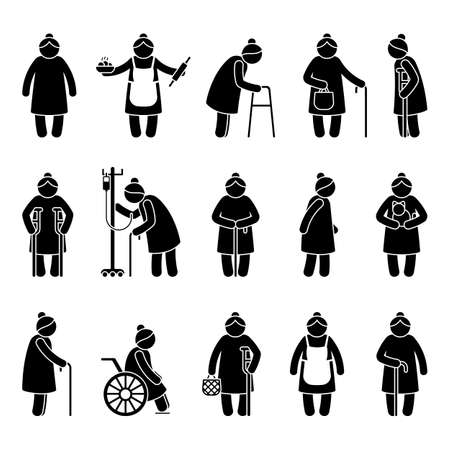 Illustration for Grandmother stick figure woman walking, standing with walker, cane, crutch, drop counter, cat, sitting on wheelchair vector icon pictogram. Old, aged grandma on white - Royalty Free Image