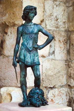 King David statue. Citadel Old City Jerusalem Israel
