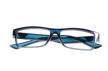 blue eyeglasses isolated on white background