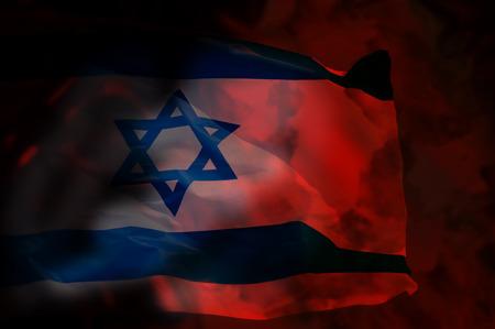 big flag of Israel over deep red background