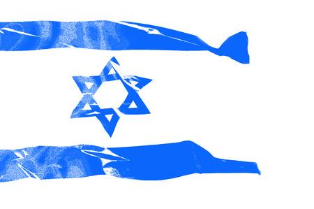 big flag of Israel over white background