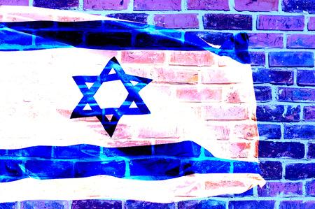 big flag of Israel over brick wall  digital edition